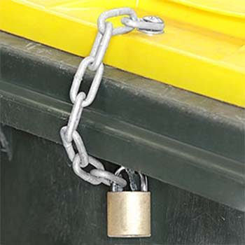 Fitment of wheelie bin lock and chain.